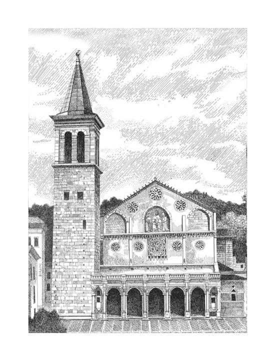 spoleto cattedrale S. Maria assunta disegno china